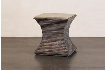 Ribbed Cement + Dark Pine Accent Table