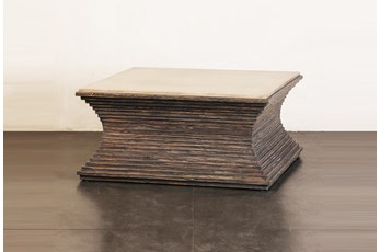Ribbed Cement + Dark Pine Coffee Table