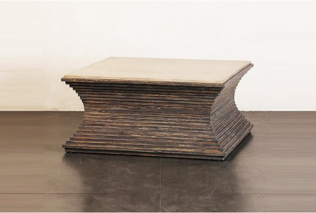 Ribbed Cement + Dark Pine Coffee Table - 360