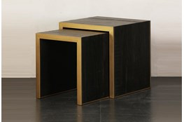 Brown + Gold Nesting Accent Table Set Of 2