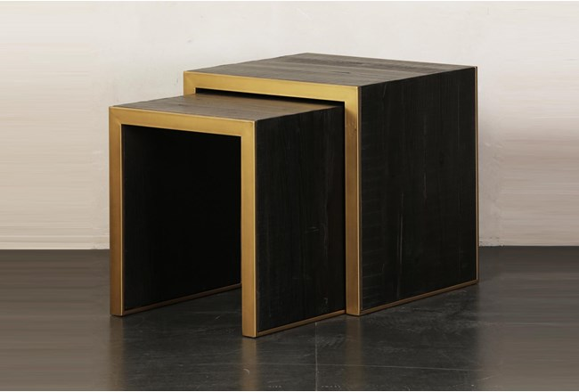 Brown + Gold Nesting Accent Table Set Of 2 - 360