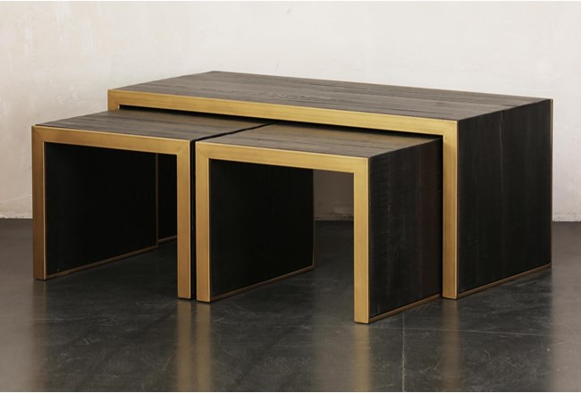 Brown + Gold Nesting Coffee Table Set Of 3 - 360
