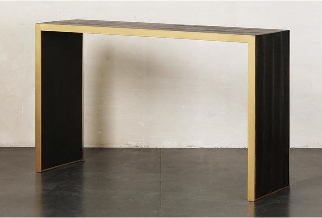 Brown + Gold Sofa Table - 360