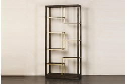 Dark Brown + Multi Level Gold Bookcase