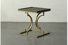 Brown Oak + Gold Accent Table