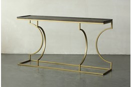 Brown Oak + Gold Sofa Table