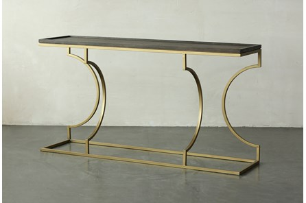 Brown Oak + Gold Sofa Table