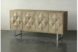 Reclaimed Pine 4 Door Faceted Sideboard