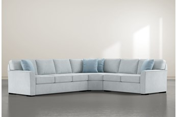 """Aspen Tranquil Foam 3 Piece 125"""" Sectional With Left Arm Facing Sofa"""