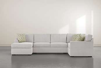 """Aspen Sterling Foam 3 Piece 134"""" Sectional With Left Arm Facing Chaise"""