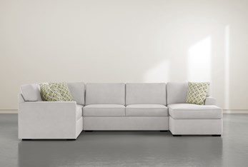 """Aspen Sterling Foam 3 Piece 134"""" Sectional With Right Arm Facing Chaise"""