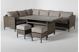 Hayes Outdoor Banquette Lounge With 2 Ottomans