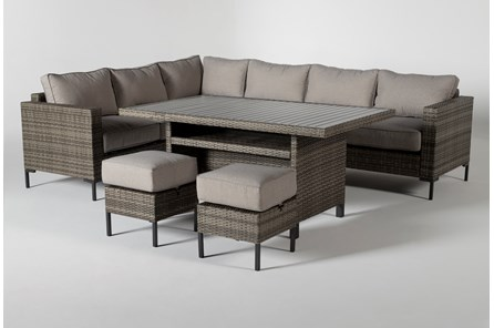Hayes Outdoor Banquette Lounge With 2 Ottomans - Main