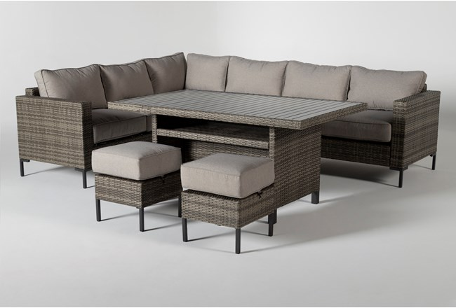 Hayes Outdoor Banquette Lounge With 2 Ottomans - 360