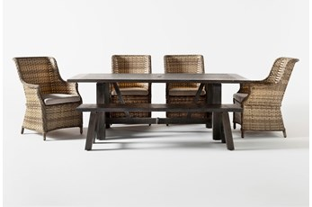 Panama Outdoor 6 Piece Rectangle Dining Set With Capri Chairs