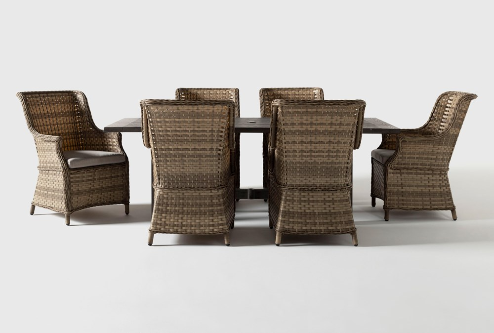 Panama Outdoor 7 Piece Rectangle Dining Set With Capri Chairs