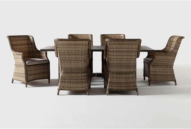 Panama Outdoor 7 Piece Rectangle Dining Set With Capri Chairs - 360