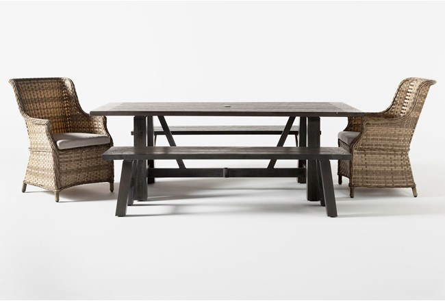 Panama Outdoor 5 Piece Rectangle Dining Set With Capri Chairs - 360