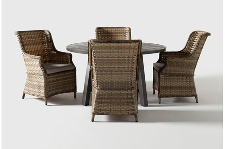 Panama Outdoor 5 Piece Round Dining Set With Capri Chairs
