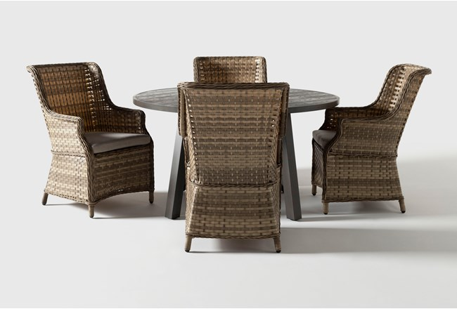 Panama Outdoor 5 Piece Round Dining Set With Capri Chairs - 360