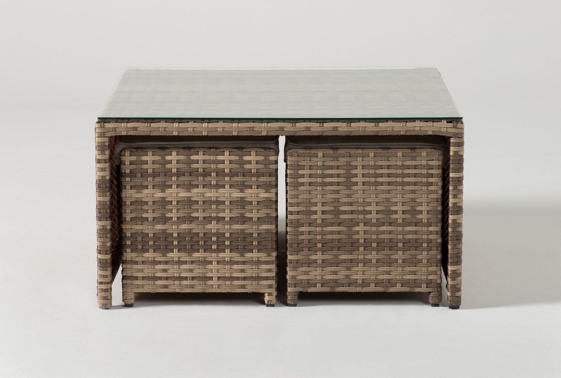 Capri Outdoor Coffee Table With Two Ottomans Living Spaces