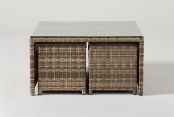 Capri Outdoor Coffee Table With Two Ottomans
