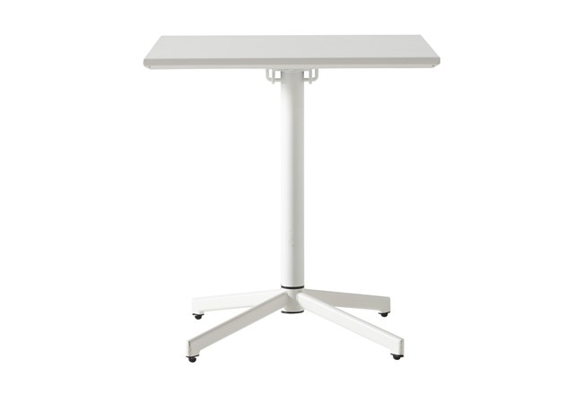 Flip Top Outdoor White Square Bistro Table  - 360