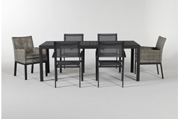 Union Outdoor 7 Piece Ext Dining Set With Woven And Sling Chairs