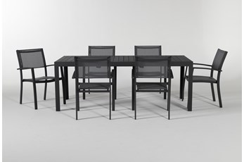 Union Outdoor 7 Piece Ext Dining Set With Sling Chairs
