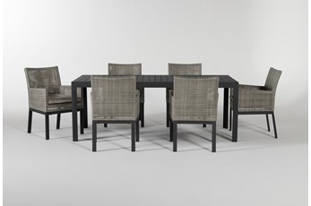 Union Outdoor 7 Piece Ext Dining Set With Woven Chairs