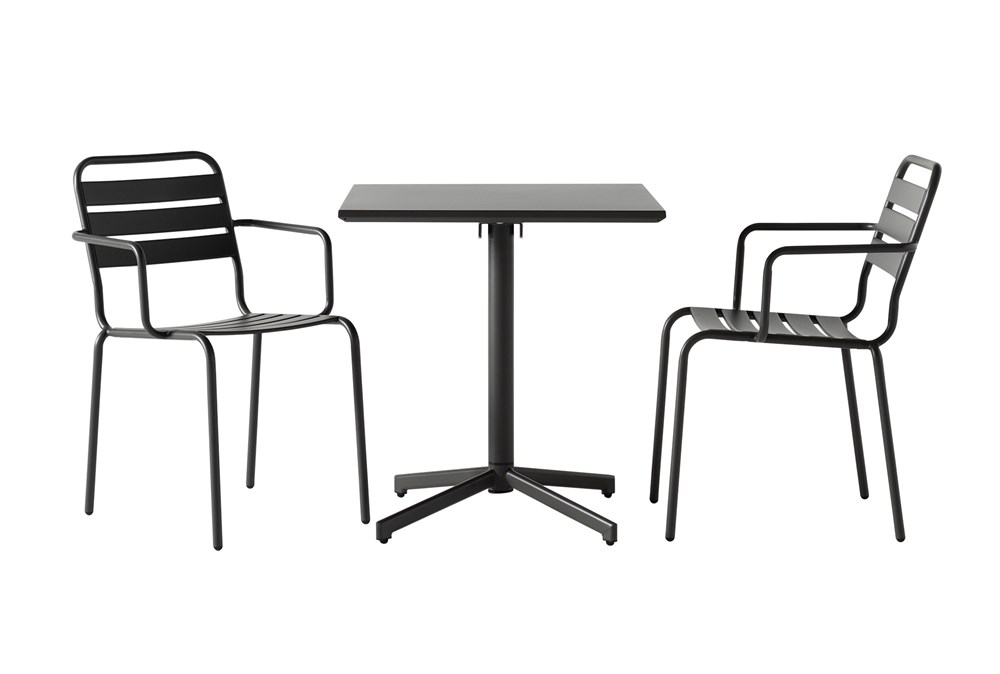 Flip Top Outdoor 3 Piece Charcoal Bistro Table With Charcoal Chairs