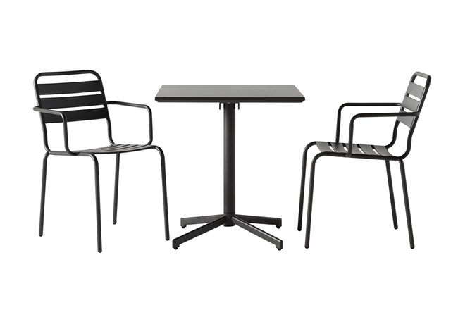 Flip Top Outdoor 3 Piece Charcoal Bistro Table With Charcoal Chairs - 360