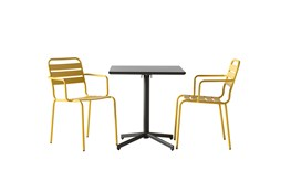 Flip Top Outdoor 3 Piece Charcoal Bistro Table With Lemon Chairs