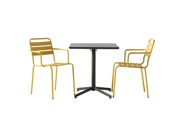 Flip Top Outdoor 3 Piece Charcoal Bistro Table With Lemon Chairs - 360
