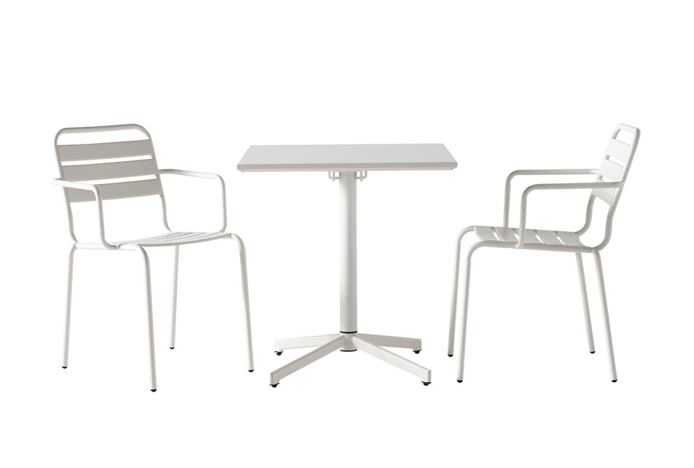 Flip Top Outdoor 3 Piece White Bistro Table With White Chairs