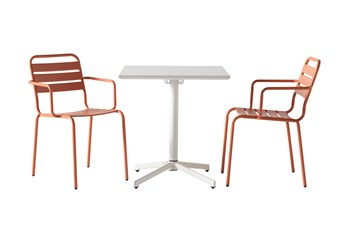 Flip Top Outdoor 3 Piece White Bistro Table With Carnelian Chairs