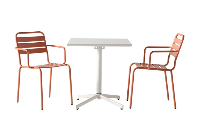 Flip Top Outdoor 3 Piece White Bistro Table With Carnelian Chairs - 360