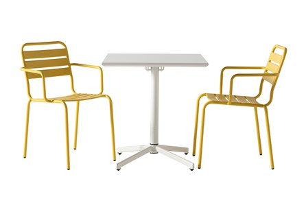 Flip Top Outdoor 3 Piece White Bistro Table With Lemon Chairs