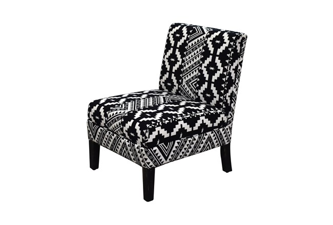 Black + White Tribal Pattern Armless Chair  - 360