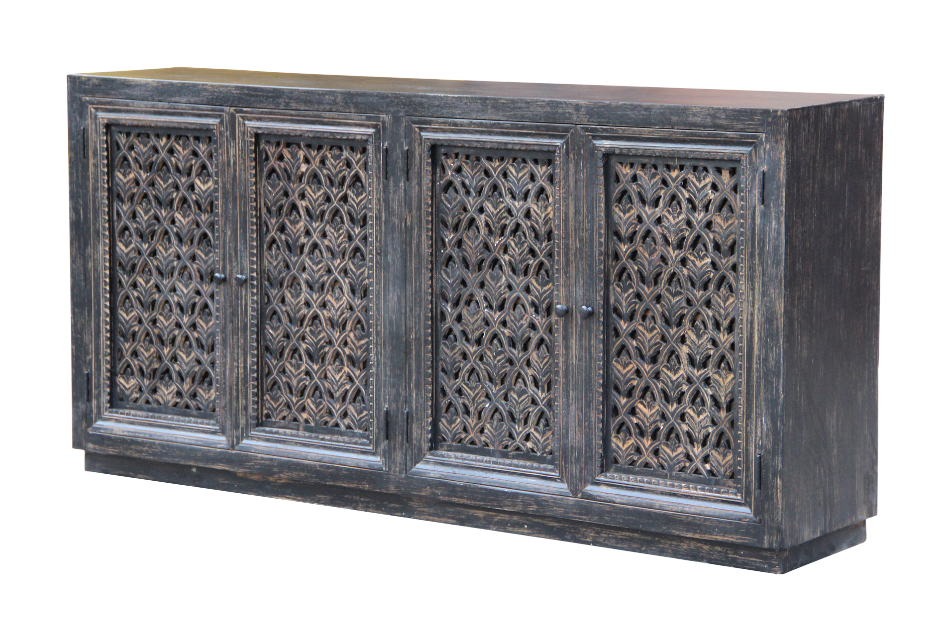 Antique Black Perforated 4 Door 80 Sideboard Living Spaces