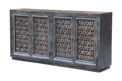 Antique Black Perforated 4 Door Sideboard