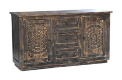 Antique Black Hand Carved 3 Door Sideboard