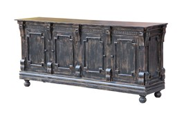 Antique Black Crown Mold 4 Door Sideboard
