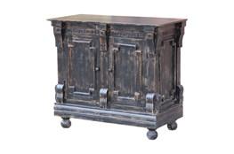 Antique Black Crown Mold 2 Door Cabinet