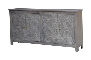 Grey Wash Geo Pattern 4 Door Sideboard