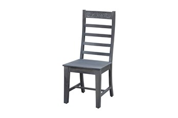 Grey Wash Print Block Dining Chair
