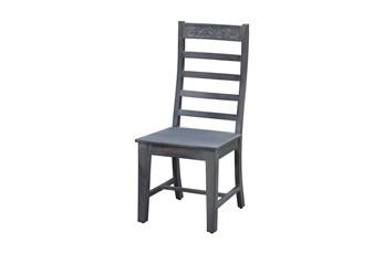 Grey Wash Print Block Dining Chair