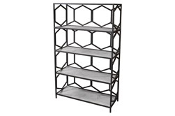"""Grey Metal + Marble 74"""" Bookcase"""