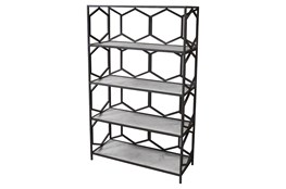 Grey Metal + Marble Bookcase