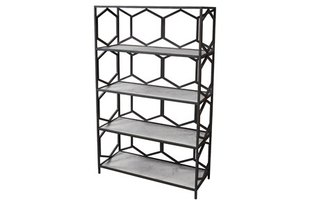 Grey Metal + Marble Bookcase - Main
